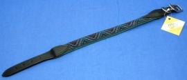 Donker groene nylon halsband met stiksel
