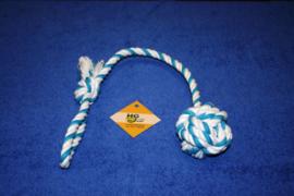 Touwbal blauw met handvat