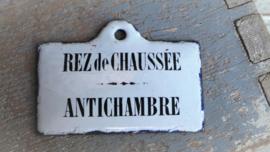 Oud Frans emaille bordje Rez de Chausseé VERKOCHT