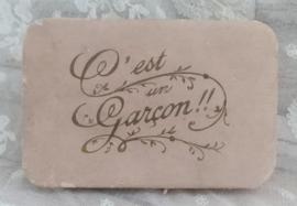 Oud Frans geboortesuikerdoosje Garcon