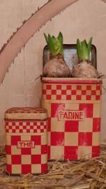 Oud Frans rood geblokte Farine blik VERKOCHT