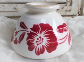 Oude spoelkom rode bloem Digion 2 VERKOCHT