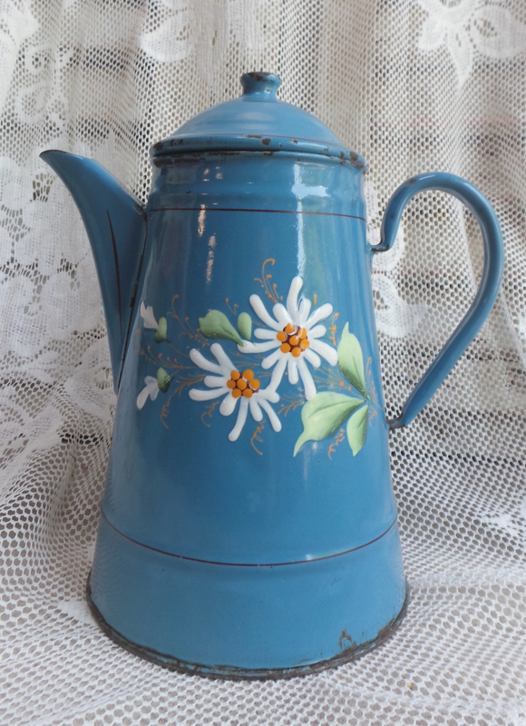 Oud Frans emaille koffiepot 'Margrietjes' VERKOCHT