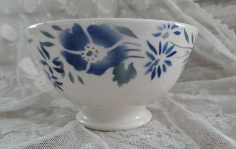 Oude spoelkom blauwe bloemen VERKOCHT
