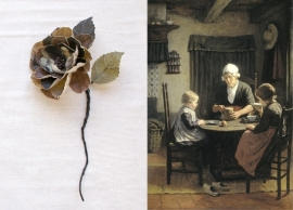 Fabric wild rose printed with a Rijksmuseum painting 'With grandmother'