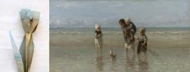 Kunst tulp bedrukt met een topitem van het Rijksmuseum `Kinderen der zee` van Jozef Israëls
