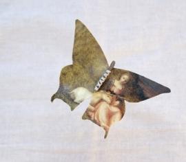 Vlinder `Vrouw met eenhoorn`schilderij