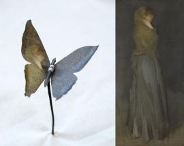 Vlinder bedrukt met Rijksmuseum schilderij Arrangement in Yellow and Gray