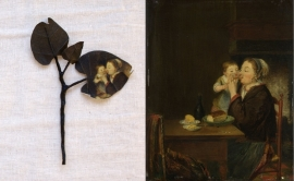 Small branch made of cotton printed with the Rijksmuseum painting 'A woman with her child'