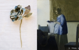 Johannes Vermeer bloem van stof bedrukt met Rijksmuseum schilderij Brieflezende vrouw