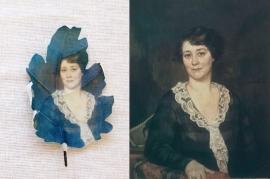 Eikenblad met Rijksmuseum schilderij Portret van een vrouw.