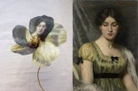 Fabric flower printed with Rijksmuseum painting 'Portrait of a lady' by Marie Wandscheer