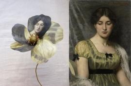 Bloem bedrukt met schilderij Portret van een vrouw