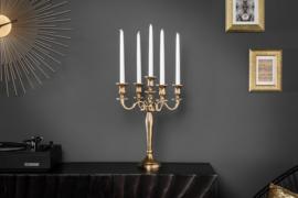Barok kandelaar 40 cm goud 5-armige kroonluchter gepolijst aluminium kandelaar