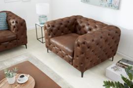 Elegante Chesterfield fauteuil MODERN BAROQUE 120 cm antiek bruin