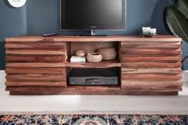 Massief TV lowboard RELIEF 150 cm sheesham hout met een uitgewerkte voorkant