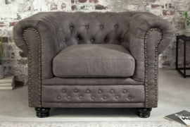Chesterfield fauteuil 105 cm vintage grijs taupe met knoopsluiting en veerkern