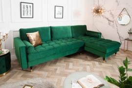Elegante loungebank COSY VELVET 260 cm smaragdgroen fluweel stof.lounge gedeelte aan beide zijde op te monteren.