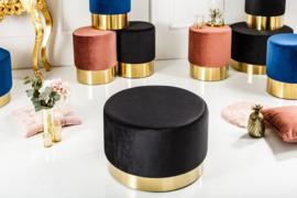 Elegante  MODERNE BAROK fluweel stof zwart/gouden kruk