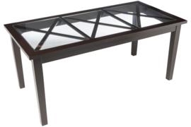 Eettafel Zwart Hout,Glas Rechthoek 180cm 3 Kruisen