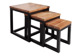 Design bijzettafel set van 3 ELEMENTS 43 cm acaciahout met zwart ijzeren frame