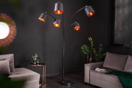 Design booglamp Black 205 cm zwart goud 5 kantelbare parasols vloerlamp