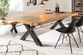 Massieve eettafel THOR 240 cm naturel gerecycled grenen industrieel design X-frame