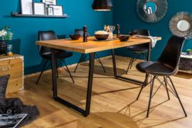 Design eettafel LOFT 160 cm eiken look met slede onderstel industriële stijl