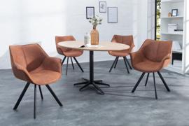 Eetkamer stoelen THE DUTCH RETRO antiek bruin met armleuningen set van 2