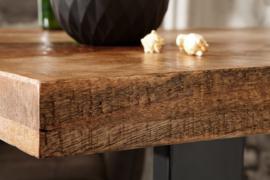 Massieve Bartafel 120cm naturel mangohout hoge tafel industrieel design