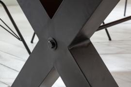 Massief eettafel THOR 240cm grijs grenen industrieel design X-frame