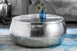 Handgemaakte salontafel ORIENT STORAGE 70cm zilver gehamerd design met opbergruimte