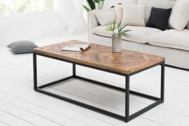 Elegante salontafel INFINITY HOME 100 cm natuurlijk mangohout met visgraatpatroon
