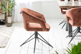 Retro draaistoel ETERNITY bruin fluweel met comfort handgreep