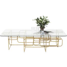 Rechthoekige salontafel Meander met glazen blad en gouden frame  140cm