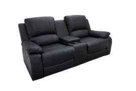 Exclusieve 2-zits bioscoopfauteuil HOLLYWOOD 186 cm zwarte tv-fauteuil met bekerhouder