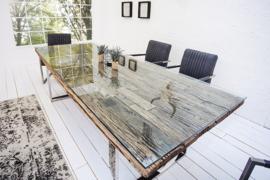 Massive eettafel BARRACUDA antieke teak hout 200cm met stalen  frame incl. Glasplaat