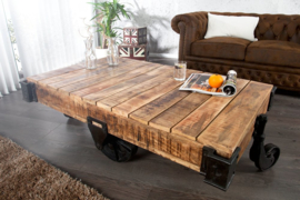 Massief mangohout  salontafel RAILWAY 120cm met 4 wielen