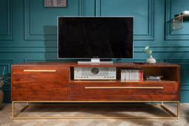 Moderne tv meubel acaciahout 165cm bruin goud