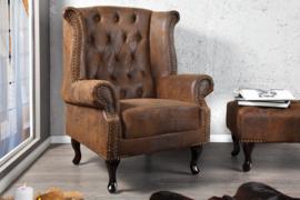 Design Chesterfield  fauteuil  antiek bruin