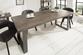 Design eettafel IRON CRAFT 200cm mangohout grijs ijzer industrieel design