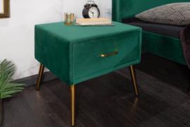 Retro nachtkastje FAMOUS 45cm smaragdgroen fluweel met lade