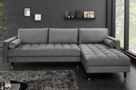 Elegante loungebank COSY VELVET 260 cm grijze fluweel stof.lounge gedeelte aan beide zijden op te monteren.