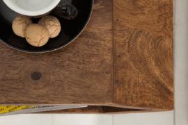 Massieve bijzettafel HEXAGON Sheesham Stone-tafel in nachtkastje met zeskantige koffietafel