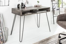 Massief bureau SCORPION 100 cm met haarspeldpoten van grijs mangohout