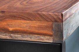 Elegant bureau ELEMENTS 118 cm Sheesham Smoked Finish metalen frame