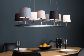 Design hanglamp LEVELS III 100cm zwart grijs met 8 lampenkappen