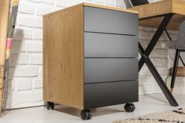 Moderne rolcontainer STUDIO 40 cm eiken look zwart 3 lades