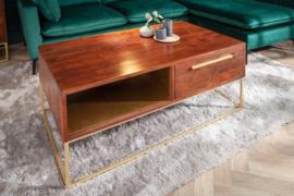 Massief salontafel RECHT 110 cm acaciahout bruin goud met lades