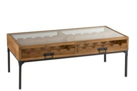 Salon Tafel Voor Wijnflessen Hout Naturel  120cm